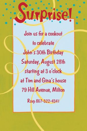 Custom Surprise with Spirals Invitations