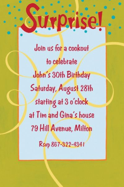 Surprise with Spirals Custom Invitation