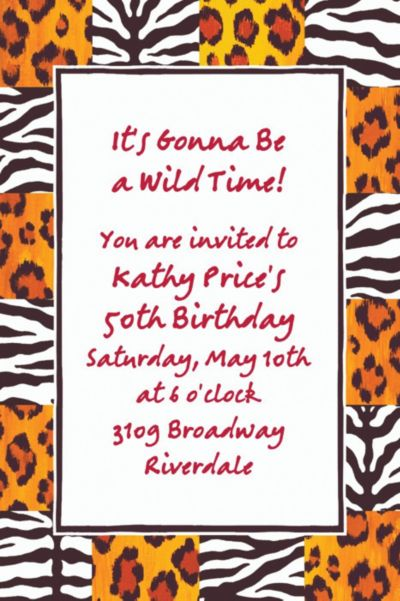 Wild Thing Checks Custom Invitation