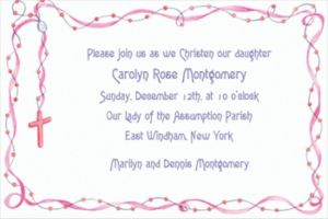 Custom Rosary with Pink Ribbon Invitations