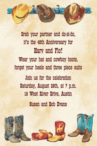 Custom Boots All in a Row Western Invitations