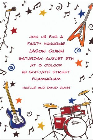Custom Rock & Roll Party Invitations