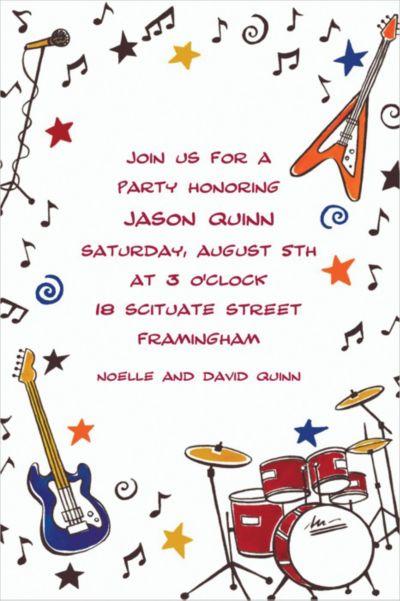 Rock & Roll Party Custom Invitation