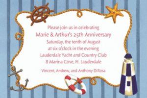 Custom Nautical Objects on Stripe Invitations