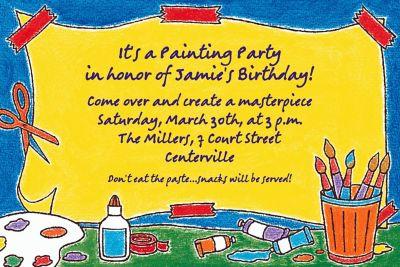 Artists' Party Custom Invitation