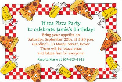 Custom Pizza Party Border Invitations