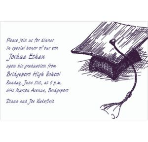 Custom Mortarboard Sketch Graduation Invitations