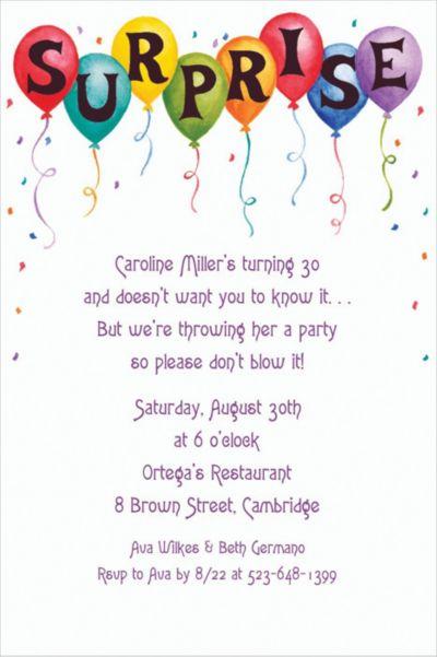Surprise in Balloons Custom Invitation