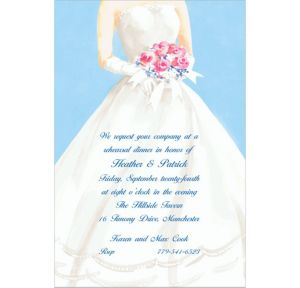 Custom Serene Bride with Bouquet Bridal Shower Invitations