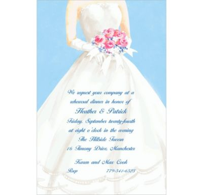 Serene Bride with Bouquet Custom Bridal Shower Invitation