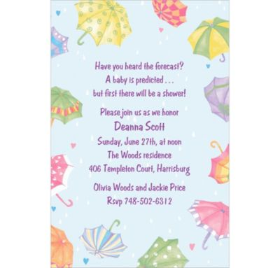 Custom Umbrellas Baby Shower Invitations