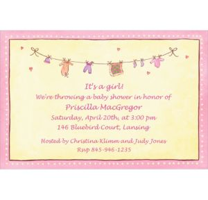 Custom Pink Laundry Baby Shower Invitations
