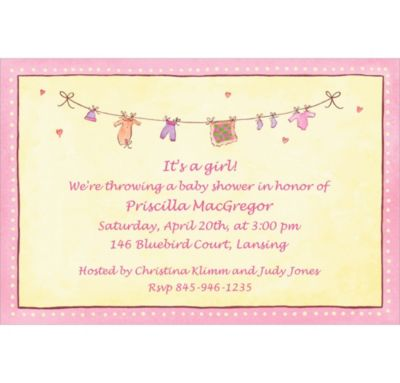 Pink Laundry Custom Baby Shower Invitation
