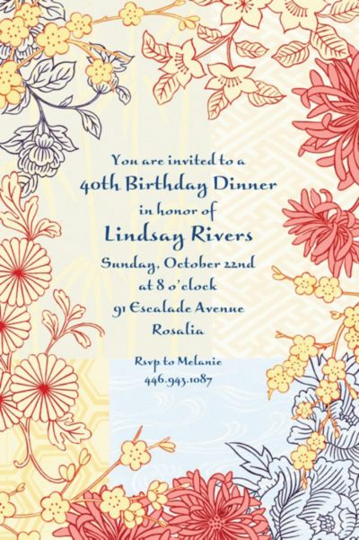 Asian Pastiche Custom Invitation