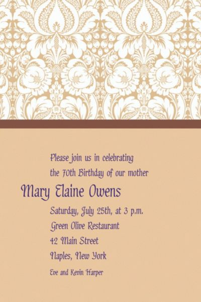 Custom Beige Damask Invitations