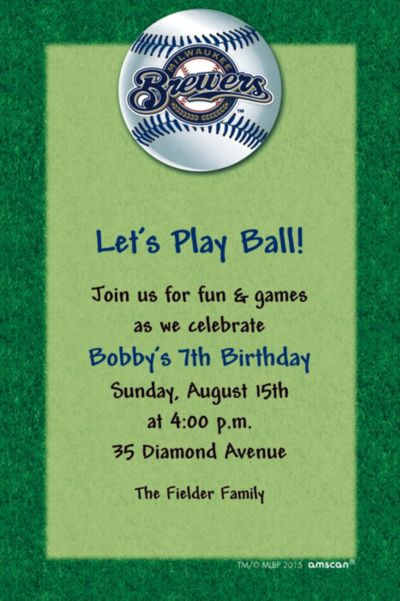 Custom Milwaukee Brewers Invitations