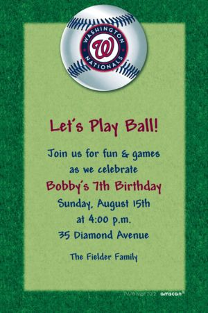 Custom Washington Nationals Invitations