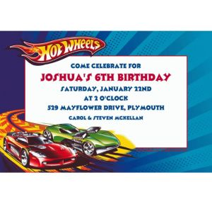 Custom Hot Wheels Invitations