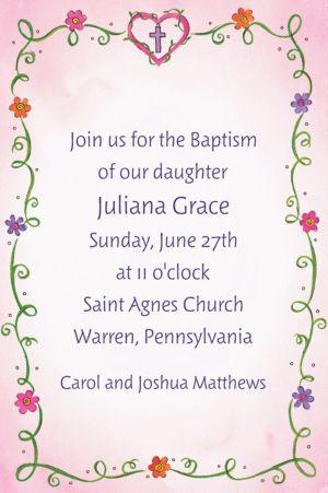 Custom Sweet Flowers, Heart and Cross Invitations