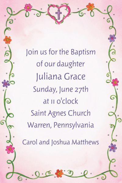 Sweet Flowers, Heart and Cross Custom Invitation