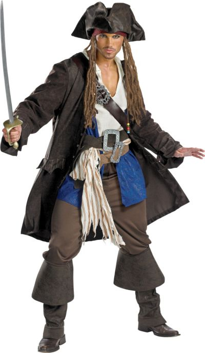 Adult Captain Jack Sparrow Costume Deluxe - Pirates of the Caribbean