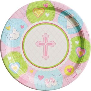 Pink Sweet Religious Lunch Plates 8ct
