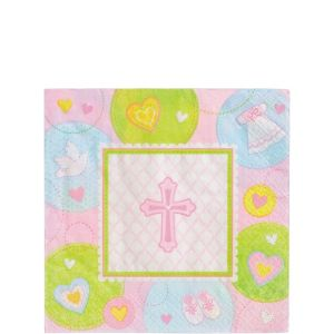 Pink Sweet Religious Beverage Napkins 16ct
