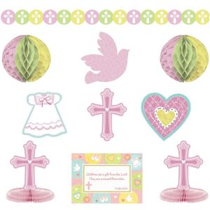 Pink Sweet Religious Room Decorating Kit 10pc