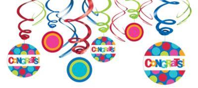 Congratulations Swirl Decorations 12ct
