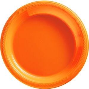 Orange Plastic Dinner Plates 50ct