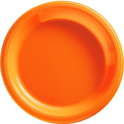 Orange Plastic Dinner Plates 50ct
