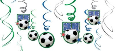 Soccer Hanging Swirl Decorations 12ct