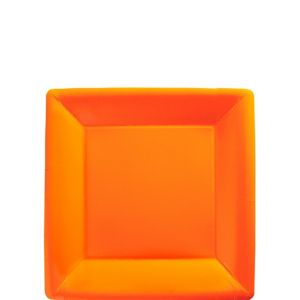 Orange Paper Square Dessert Plates 20ct