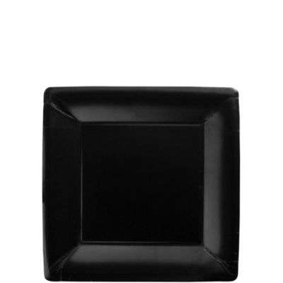 Black Paper Square Dessert Plates 20ct