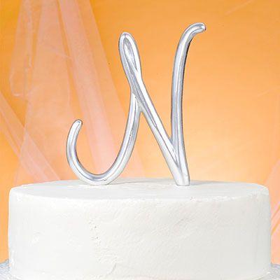 Monogram N Wedding Cake Topper