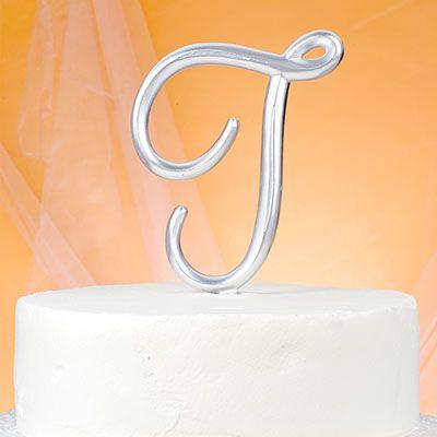 Monogram T Wedding Cake Topper