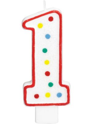 Giant Glitter Red Outline Number 1 Birthday Candle