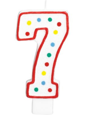 Giant Glitter Red Outline Number 7 Birthday Candle