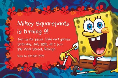 Custom SpongeBob Simply Invitations