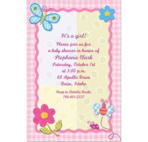 Custom Hugs & Stitches Girl Baby Shower Invitations