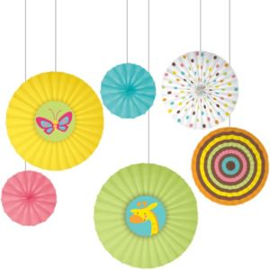 Fisher-Price Jungle Baby Shower Paper Fan Decorations 6ct