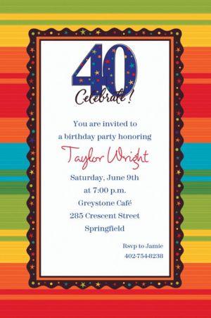 Custom A Year to Celebrate 40th Birthday Invitations