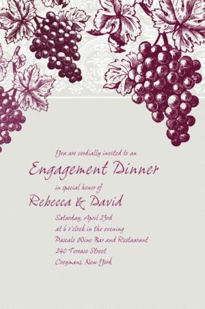 Custom Grape Vine Silhouette Invitations