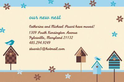 Custom Quaint Birdhouse Moving Announcements