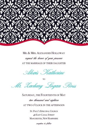 Custom Fancy Finish Red Invitations