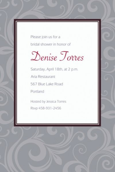 Floating Border Gray Custom Invitation