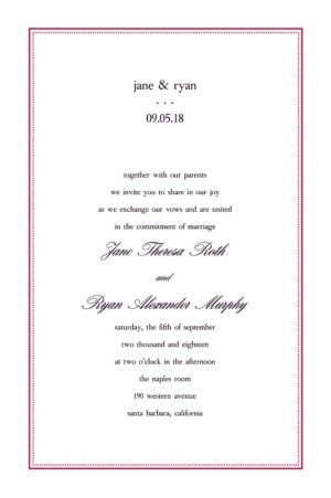 Custom Dot & Line Red Invitations
