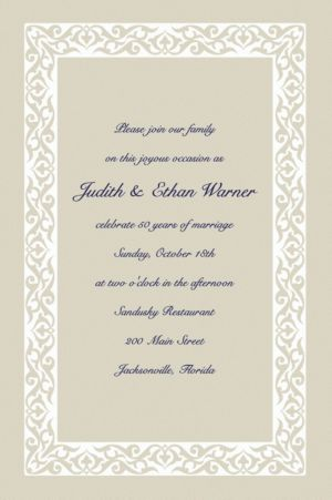 Custom Embellished Border Beige Invitations