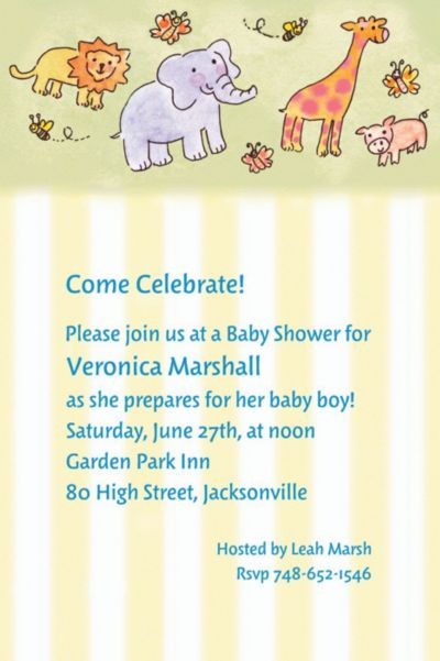Custom Tossed Animals & Stripe Baby Shower Invitations