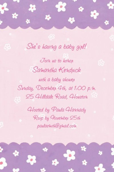 Custom Dainty Flowers & Scallop Baby Shower Invitations